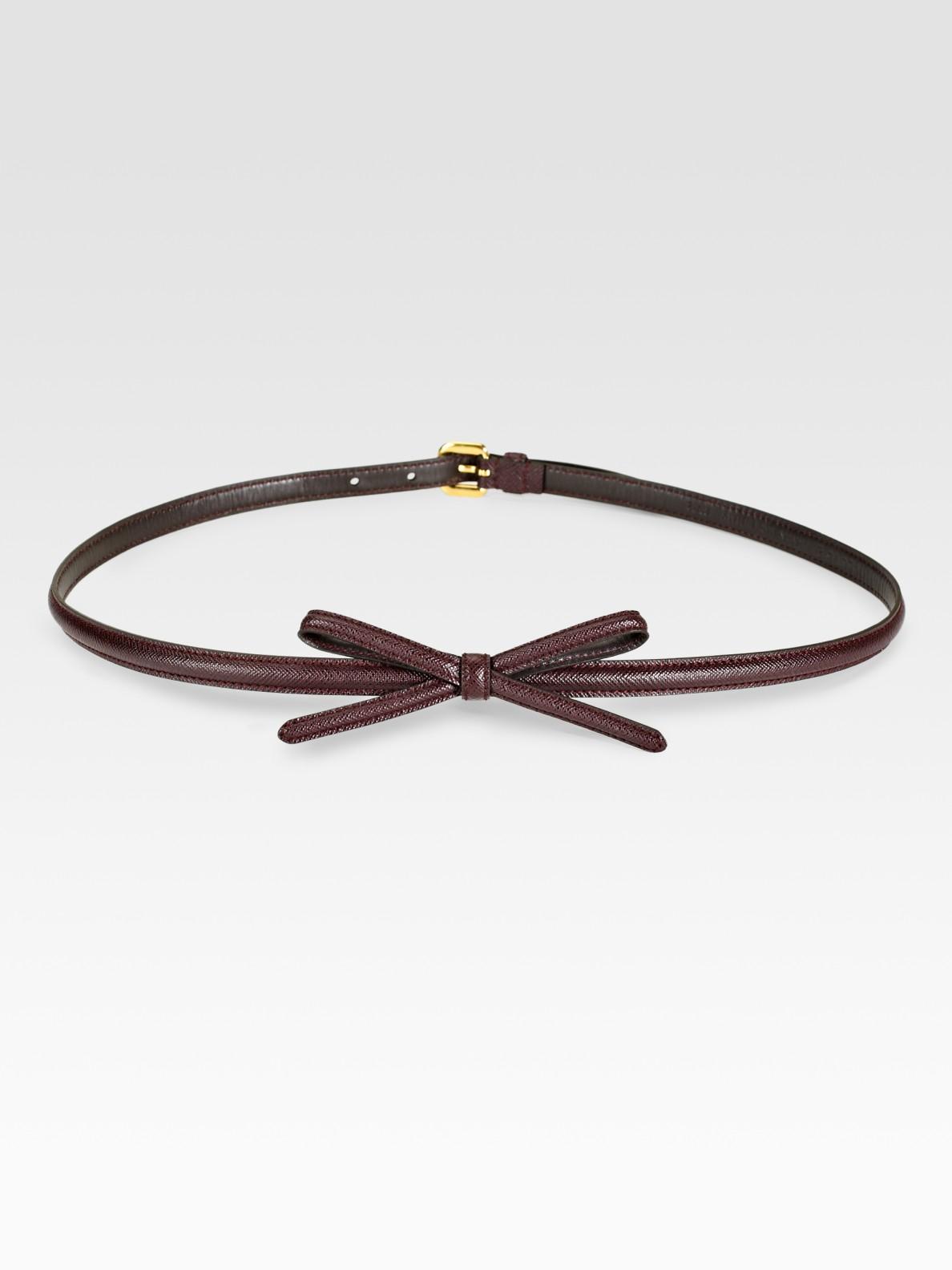 Prada Saffiano Leather Bow Belt in Purple (bordeaux) | Lyst