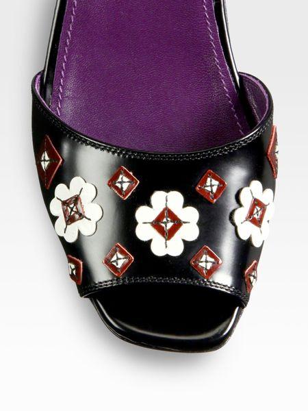 Prada Leather Flower Platform Wedge Sandals In Black Nero