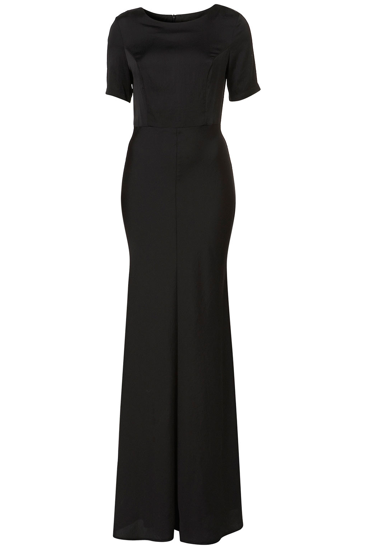 Topshop Clean Tshirt Silk Maxi Dress In Black Lyst