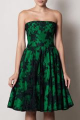 Alexander Mcqueen Flower Lace Strapless Dress in Green (emerald) - Lyst