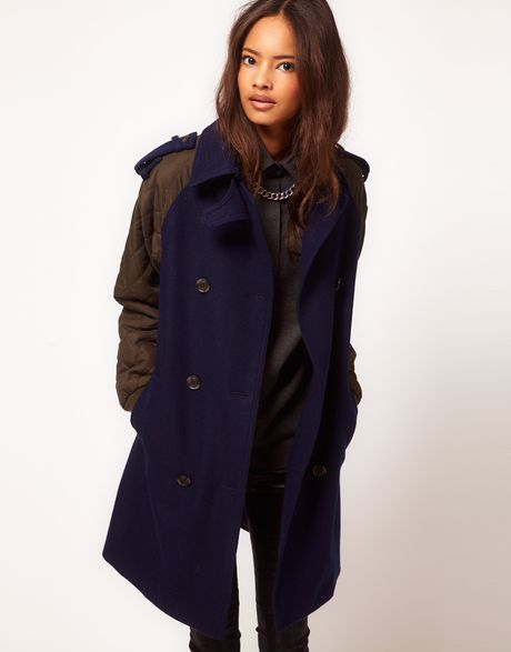 Asos Collection  Quilted Contrast Sleeve Coat in Green (navy) - Lyst
