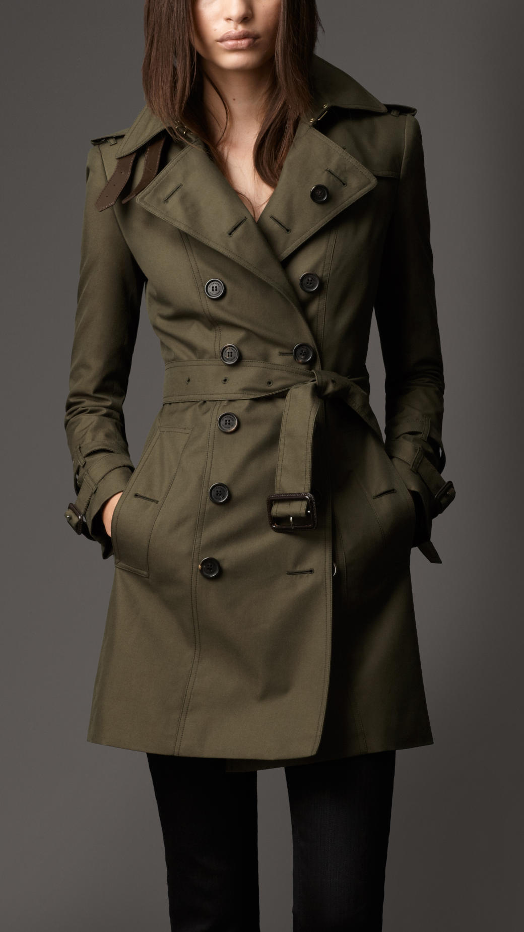 Lyst Burberry Midlength Cotton Gabardine Leather Detail