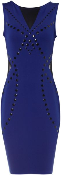 Jane Norman Blue Studded Mesh Detail Dress - Lyst
