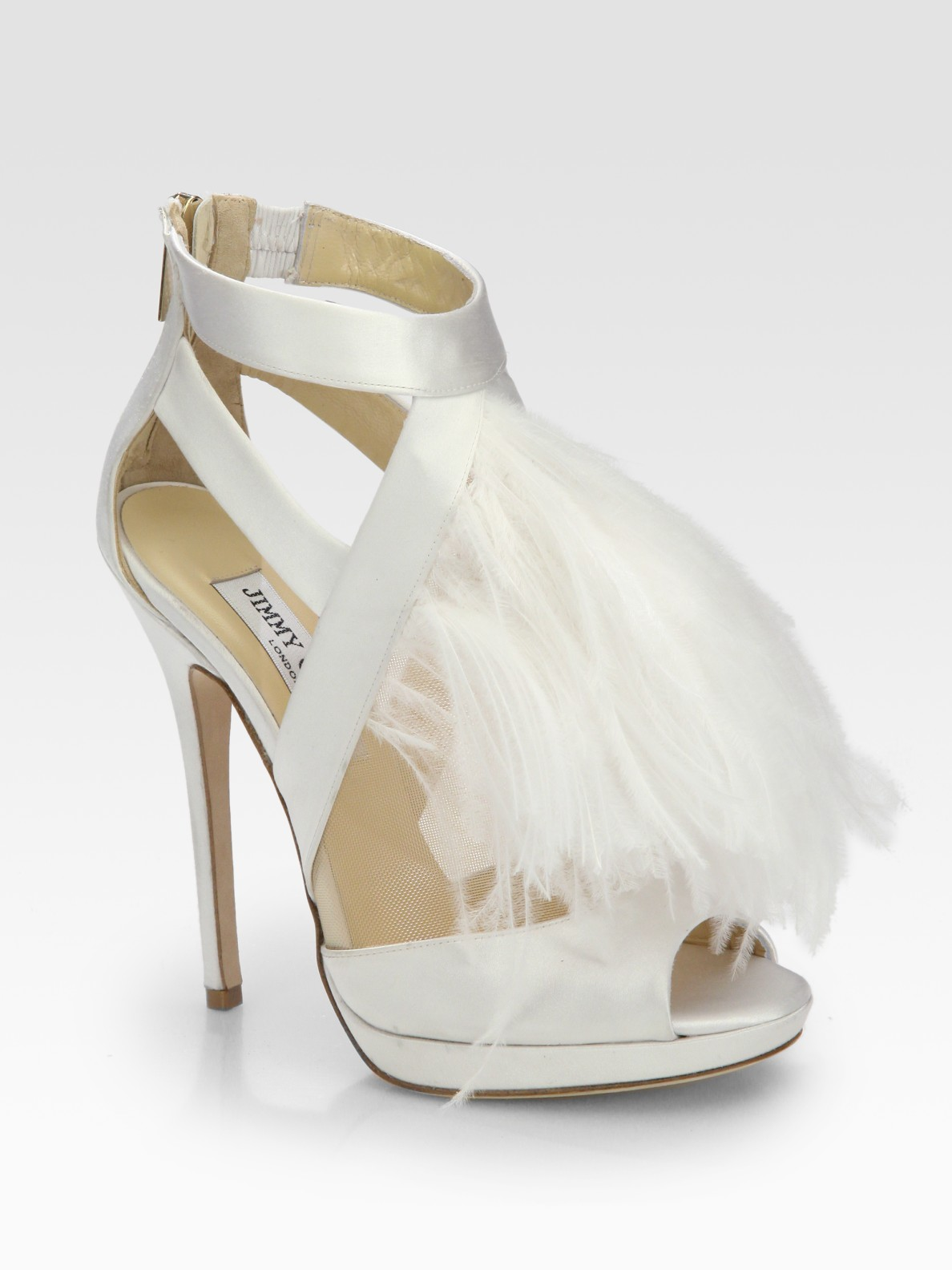 5b3b6b5fb128 Lyst jimmy choo teazer ostrich feather satin platform sandals in white jpg  1188x1584 Ostrich feather shoes