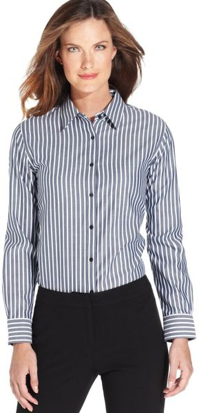 Jones New York Longsleeve Striped Wrinkleresistant - Lyst