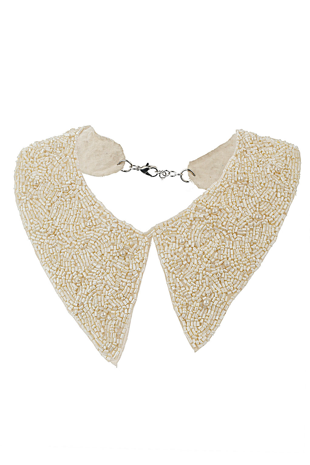 13291a04ad1bea TOPSHOP Bead and Pearl Collar Necklace in Natural - Lyst