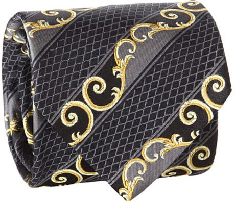 Versace Diamond Scroll Tie in Gray for Men (g) - Lyst