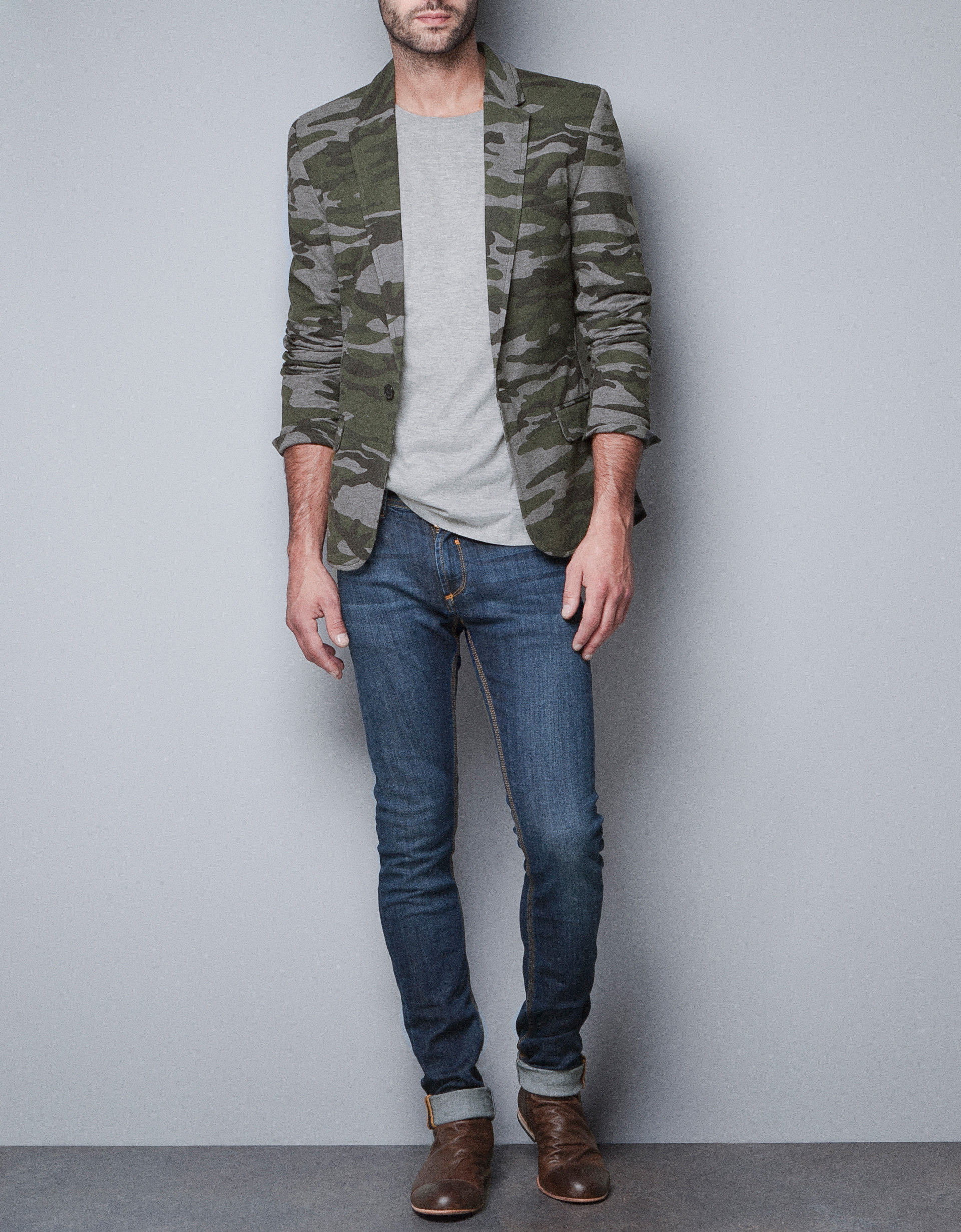 zara camouflage blazer in green for men not available lyst. Black Bedroom Furniture Sets. Home Design Ideas