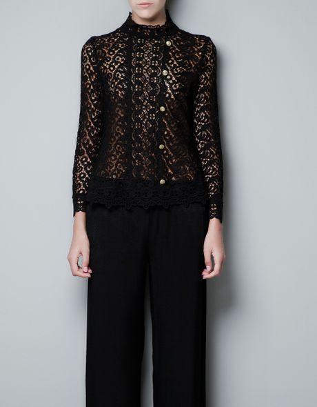 Zara Black Lace Blouse 99