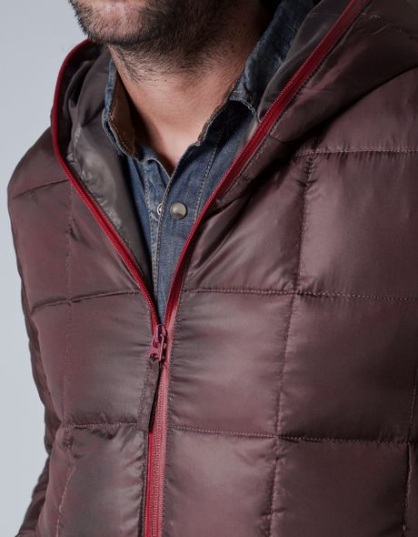 Zara Padded Anorak With Hood In Red For Men Maroon Lyst