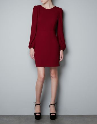 Zara Puff Sleeve Dress - Lyst