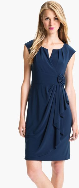 Adrianna Papell Cap Sleeve Sheath Dress - Lyst