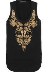 Alexander McQueen Embroidered Cotton Tank