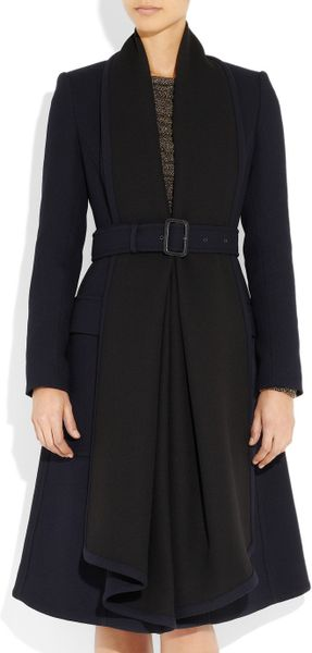 Burberry Prorsum Woolcrepe Coat In Blue Navy Lyst