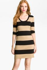Calvin Klein Stripe Knit Sweater Dress - Lyst