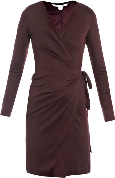 Diane Von Furstenberg Deepa Woolen Wrap Dress in Purple (bordeaux)
