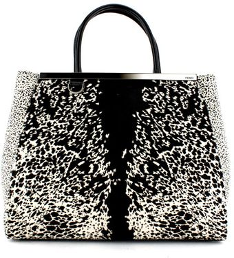 Fendi Black and White Pony Hair Elite Shopper - Lyst
