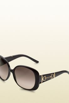 Gucci Large Rectangle Frame Sunglasses with Horsebit Detail On Temples - Lyst