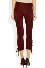 Isabel Marant Eden Stretchsuede Skinny Pants in Purple (burgundy) - Lyst
