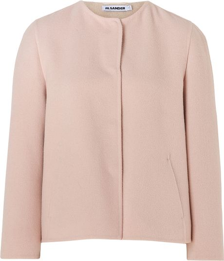 Jil Sander Blush Cropped Wool Jacket in Pink (blush) - Lyst