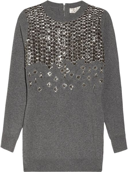 Lela Rose Embellished Wool Sweater in Gray (charcoal) - Lyst