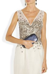 Lela Rose Embellished Silk Organza Dress in White (ivory) - Lyst