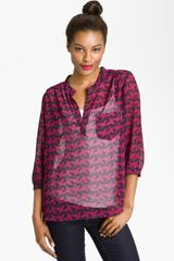 Pleione Print Split Neck Sheer Blouse - Lyst