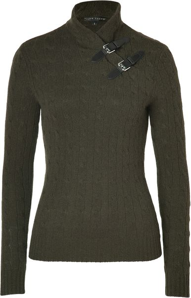 Ralph Lauren Loden Cashmere Cable Knit Mock Neck Pullover in Brown (loden)