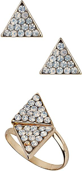 Topshop Rhinestone Triangle Set in Gold (clear)