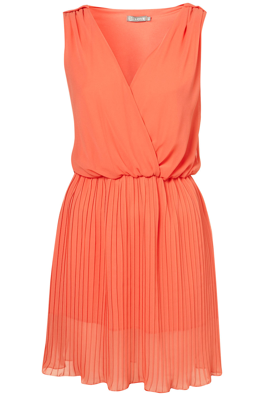topshop pleated cross bust dress in orange lyst