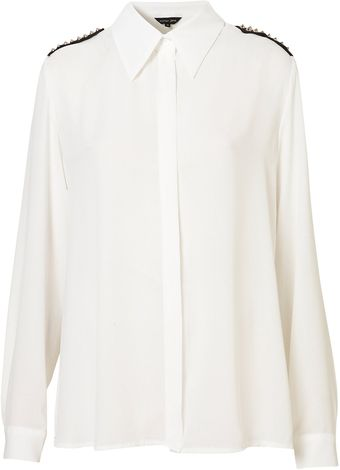 Topshop Stud Shoulder Blouse - Lyst