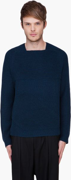 Alexander Wang Petrol Engineered Ottoman Sweater in Blue for Men (petrol)