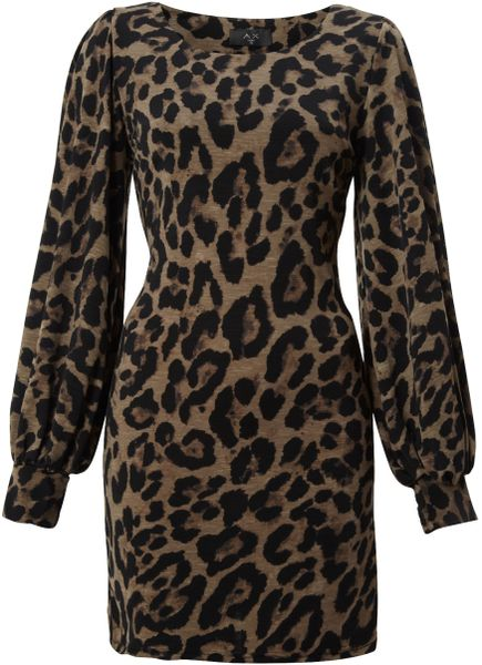 Ax Paris Animal Print Wide Sleeve Dress In Animal Brown