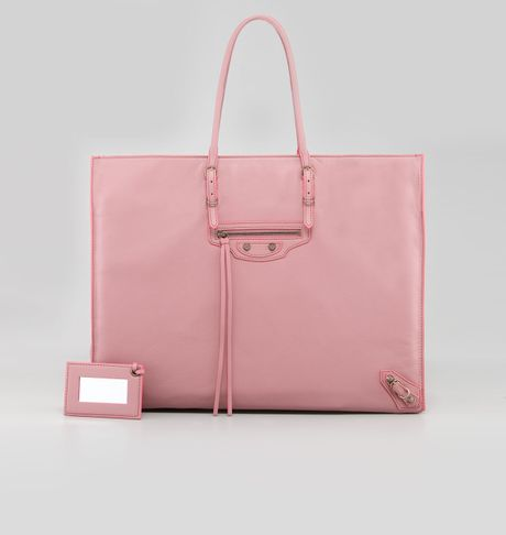 Balenciaga Papier Leather Tote English Rose in Pink (english rose) - Lyst
