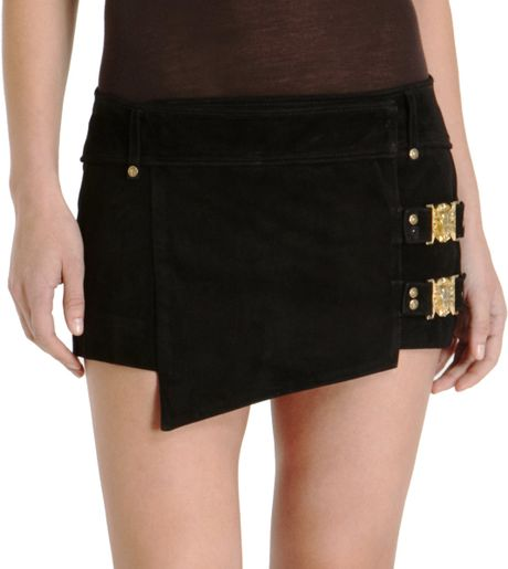 Balmain Wrap Mini Skirt in Gold (bronze) - Lyst