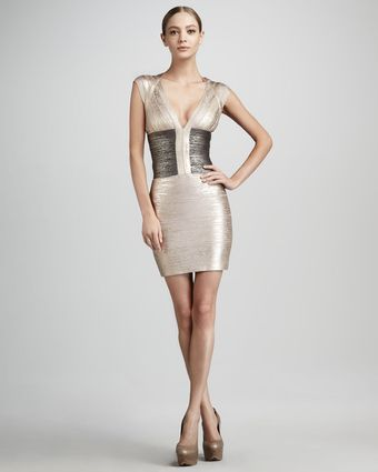 Hervé Léger Metallic Colorblock Bandage Dress - Lyst