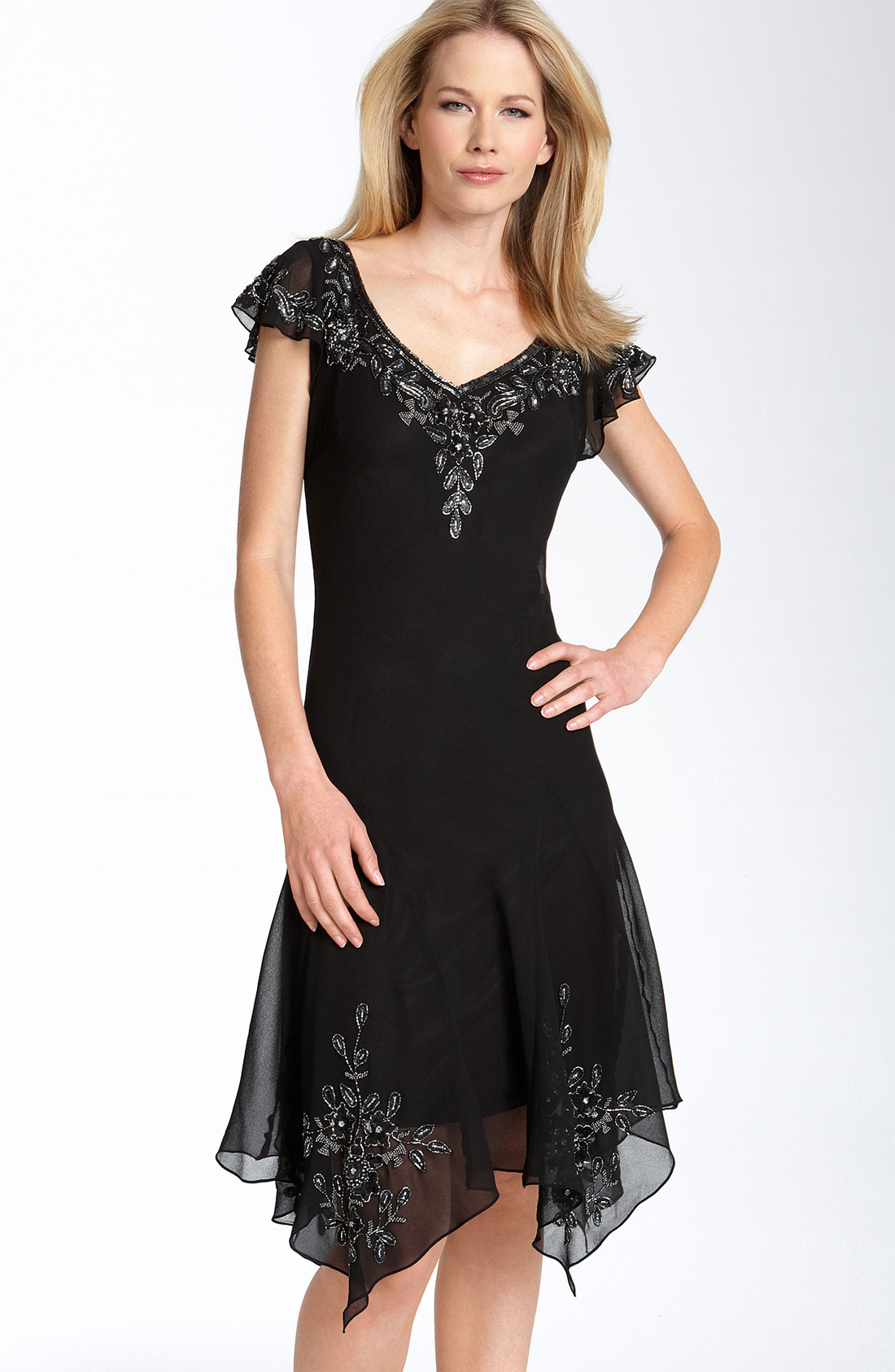 J Kara Beaded Flutter Sleeve Chiffon Dress In Black Black