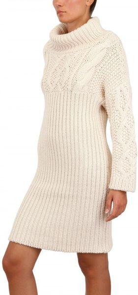 Jean Pierre Braganza Cable Wool Knit Sweater Dress In