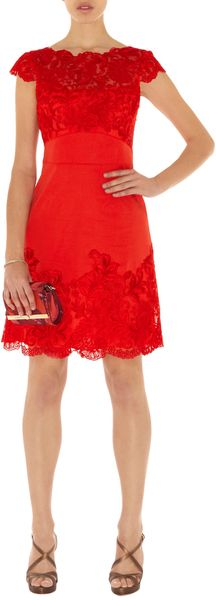 Karen Millen Coloured Lace Dress in Red - Lyst