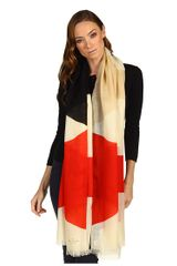 Kate Spade Abstract Signature Logo Bow Scarf in Beige (m) - Lyst