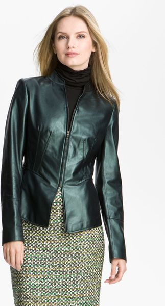 Lafayette 148 New York Pearlized Leather Jacket in Green (emerald