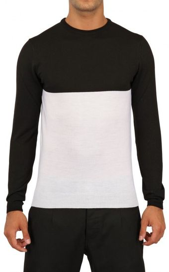 Laura G Two Tone Knitted Sweater - Lyst