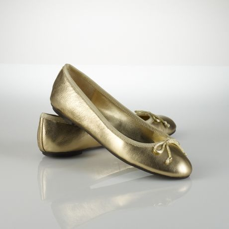 lauren by ralph lauren amarissa leather ballet flat in gold lyst. Black Bedroom Furniture Sets. Home Design Ideas