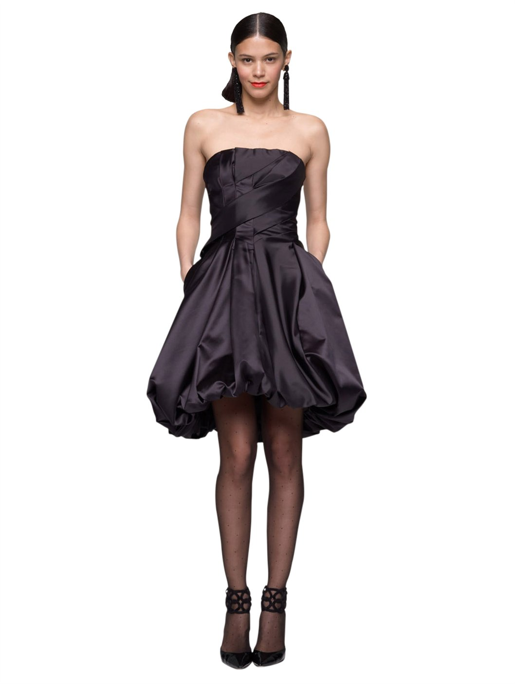 Oscar de la renta Duchess Satin Strapless Bubble Dress in Black | Lyst
