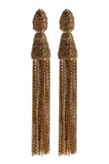 Oscar de la Renta Long Chain Tassel Earrings - Lyst