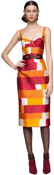 Oscar De La Renta Silk Cotton Sleeveless Dress in Multicolor (clemintine) - Lyst