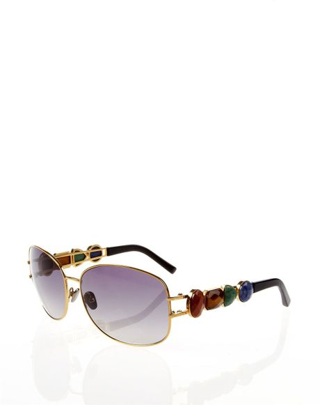 Oscar De La Renta Gemstone Sunglasses in Gold - Lyst
