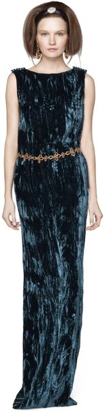 Oscar De La Renta Crushed Pleated Velvet Column Gown in Blue (nile) - Lyst
