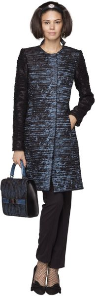 Oscar De La Renta Textured Boucle Jacquard Coat in Blue (nile) - Lyst