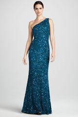 Theia Beaded One shoulder Gown - Lyst
